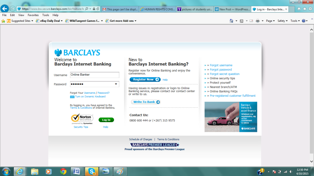 Image of Online Banking Log In Page