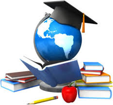 Image of books, mortarboard and model globe
